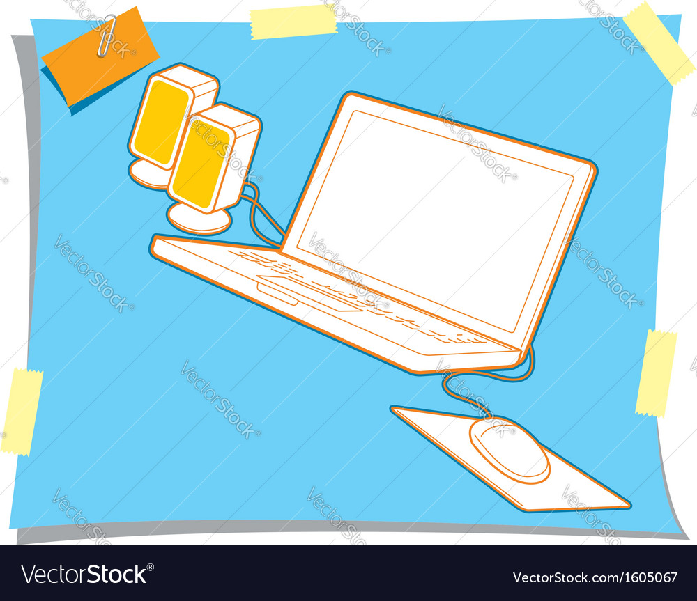 Computer laptop with mouse and loudspeaker vector | Price: 1 Credit (USD $1)