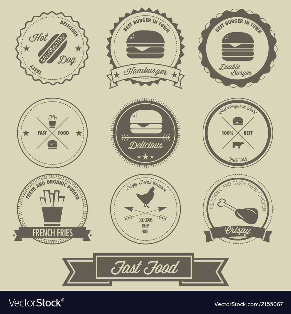 Fast food vintage label vector | Price: 1 Credit (USD $1)