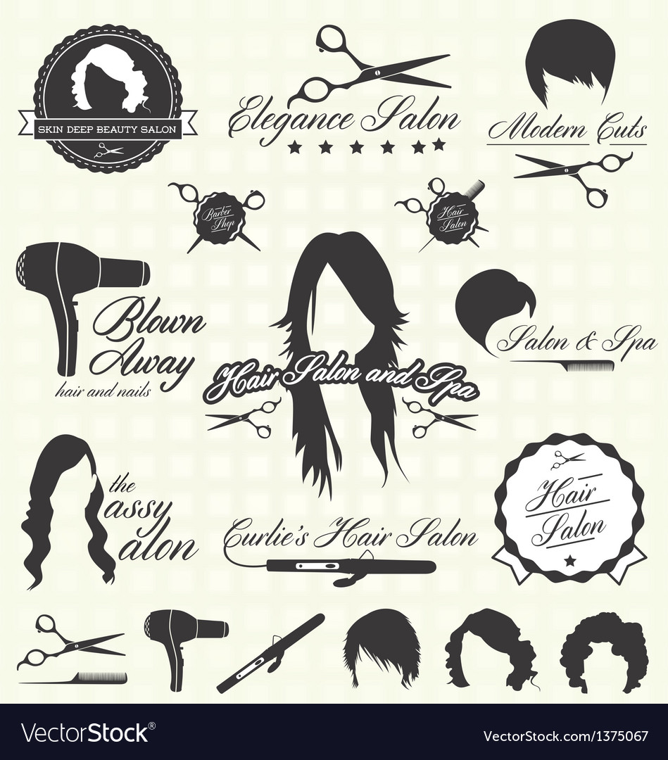 Hair salon labels and icons vector | Price: 1 Credit (USD $1)