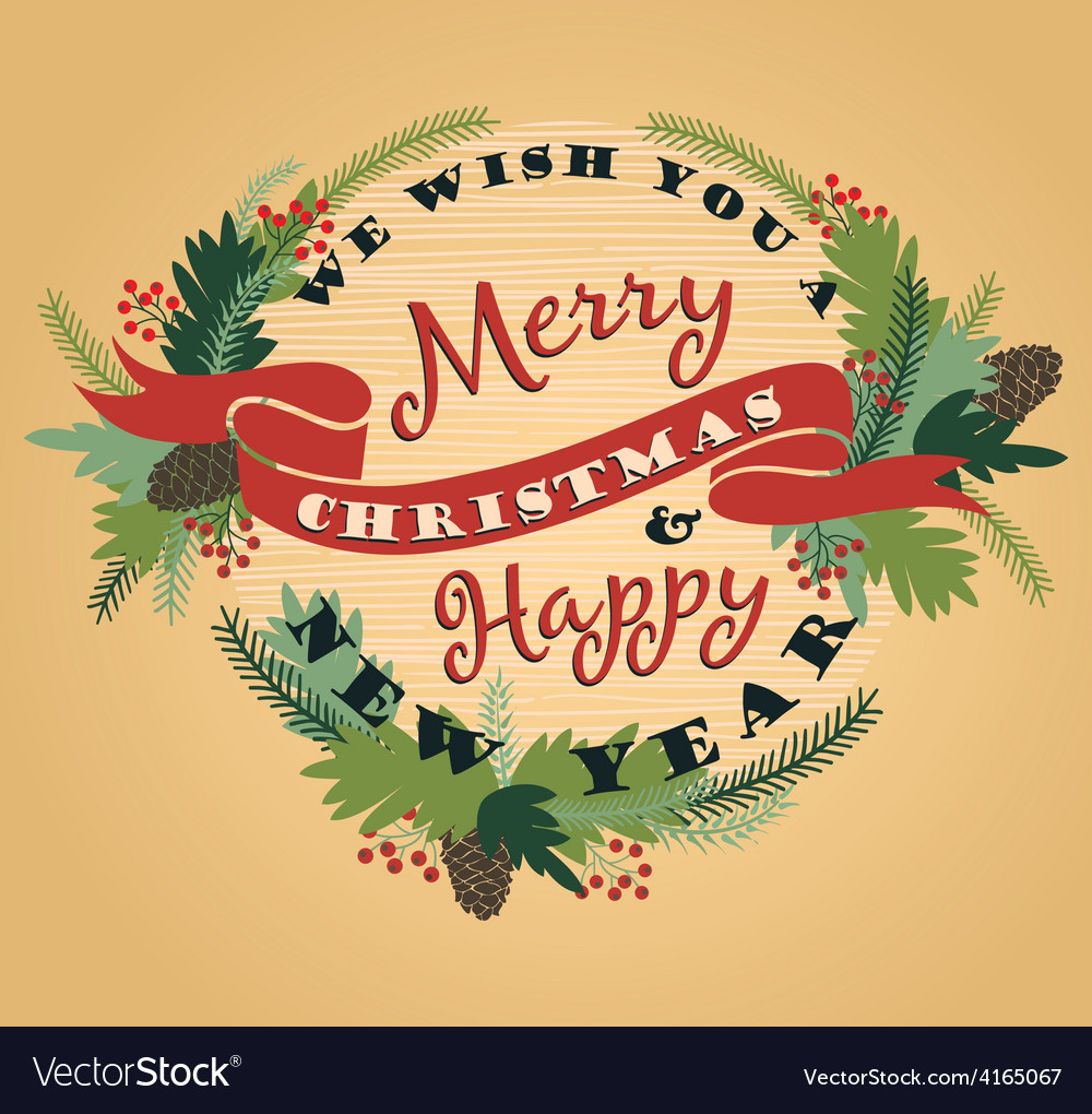 Merry christmas background with typography vector | Price: 1 Credit (USD $1)