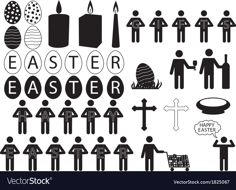People pictogram for easter vector | Price: 1 Credit (USD $1)
