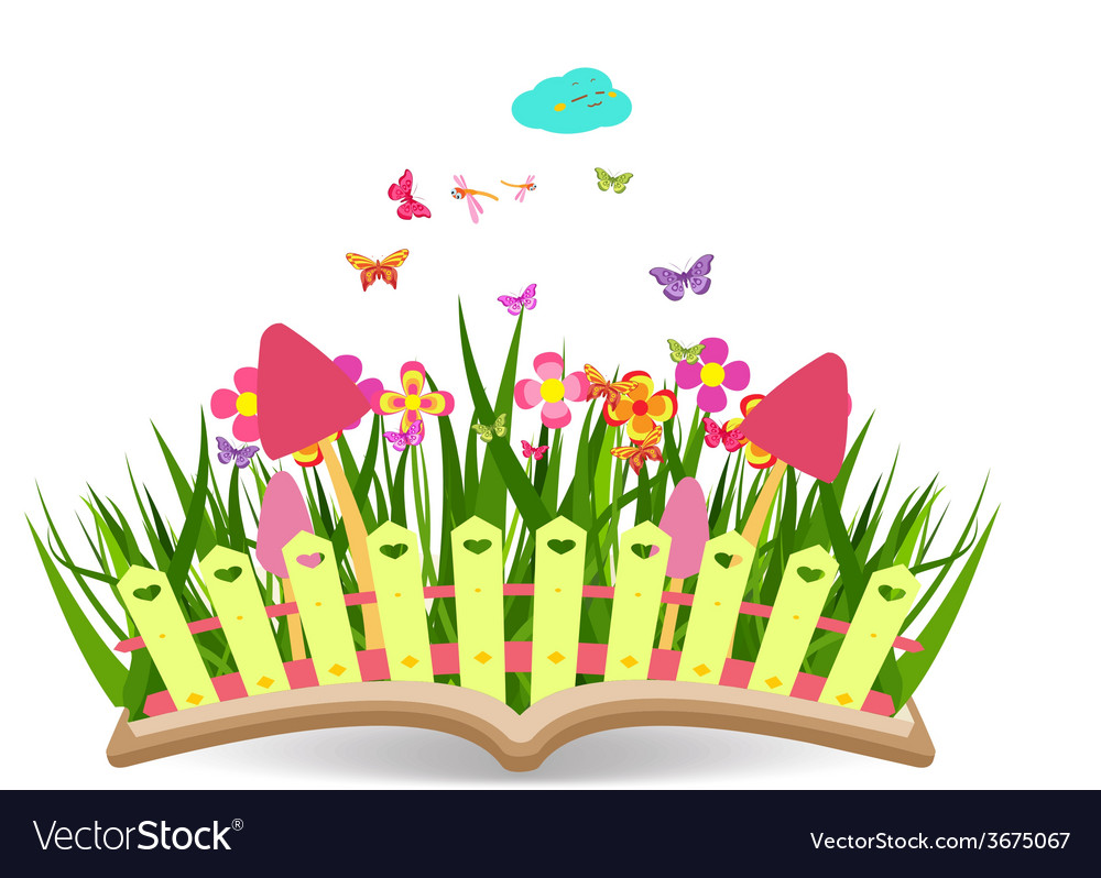 Spring with grass and flowering in the book vector | Price: 1 Credit (USD $1)