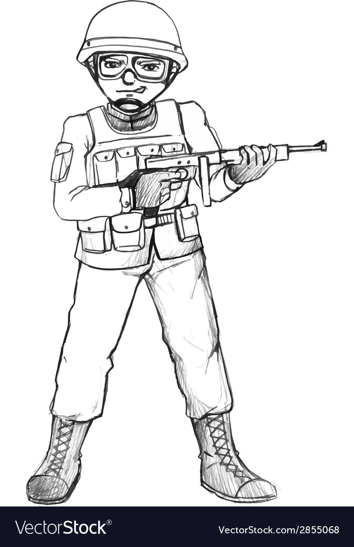 A simple sketch of a soldier vector | Price: 1 Credit (USD $1)