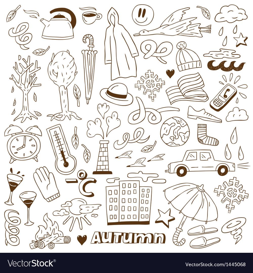 Autumn doodles vector