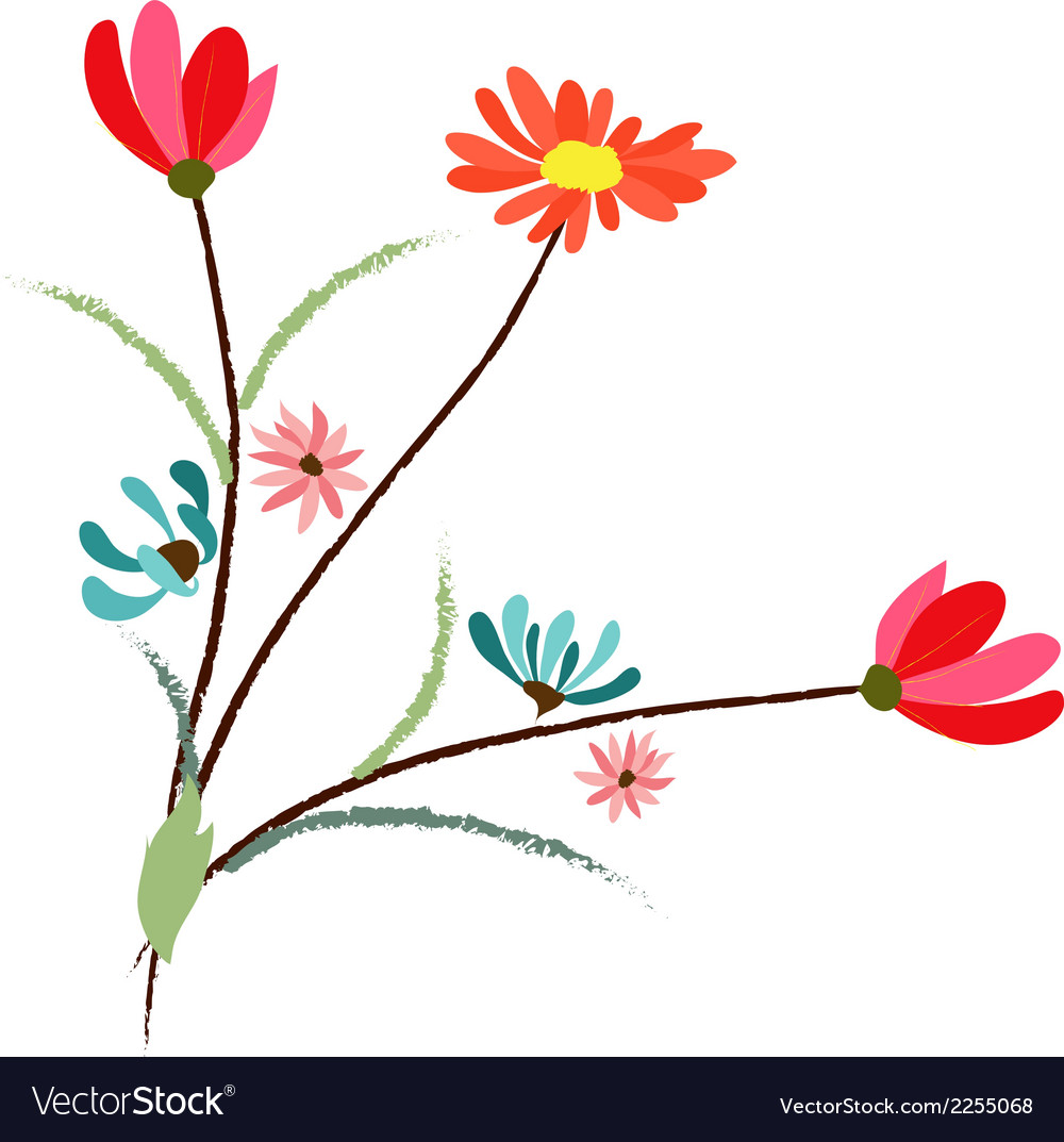 Background with flowers in retro style vector | Price: 1 Credit (USD $1)