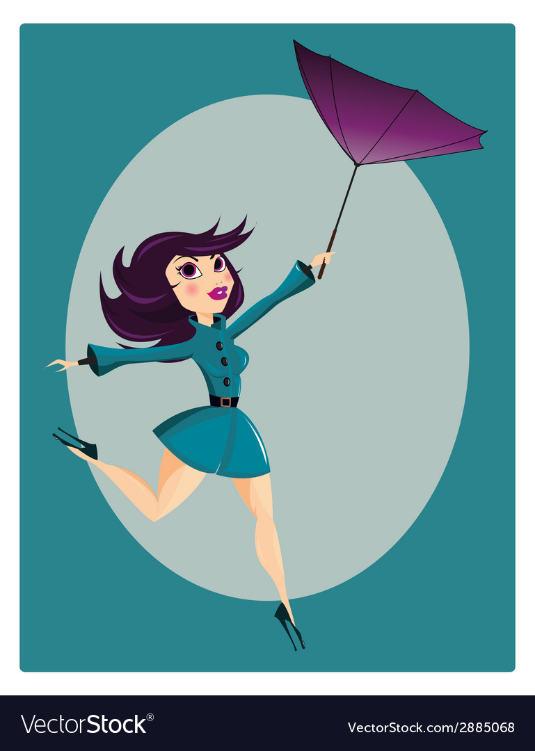 Beautiful pin up girl with flipped umbrella vector | Price: 1 Credit (USD $1)
