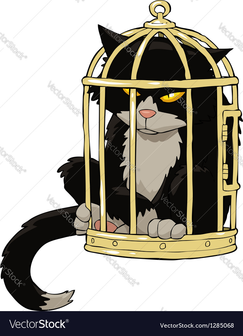 Birdcage with a cat vector | Price: 1 Credit (USD $1)