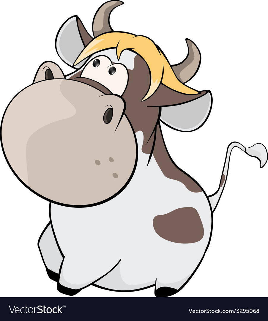 Cheerful cow cartoon vector | Price: 1 Credit (USD $1)