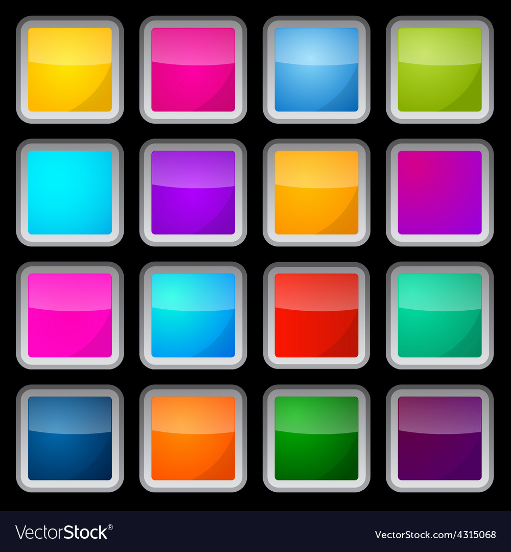 Colorful square glass buttons set on black vector   Price: 1 Credit (USD $1)