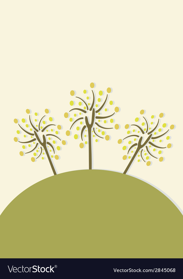 Decorative trees background with doodle tree vector | Price: 1 Credit (USD $1)