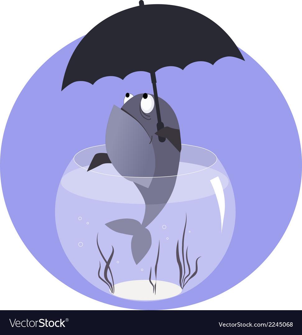 Fish with umbrella vector | Price: 1 Credit (USD $1)