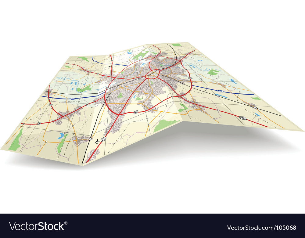 Folding map vector | Price: 1 Credit (USD $1)
