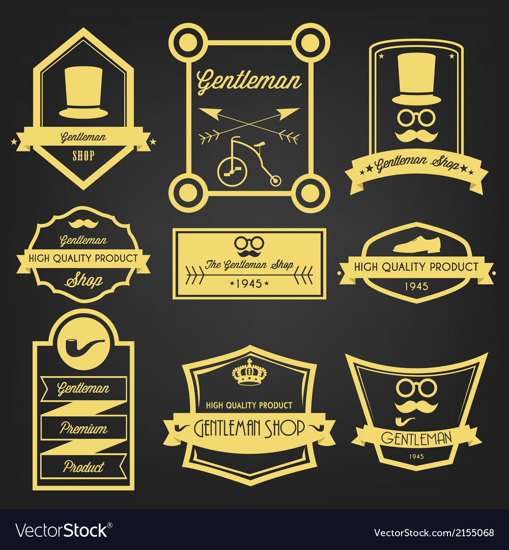Gentleman shop vintage label vector | Price: 1 Credit (USD $1)