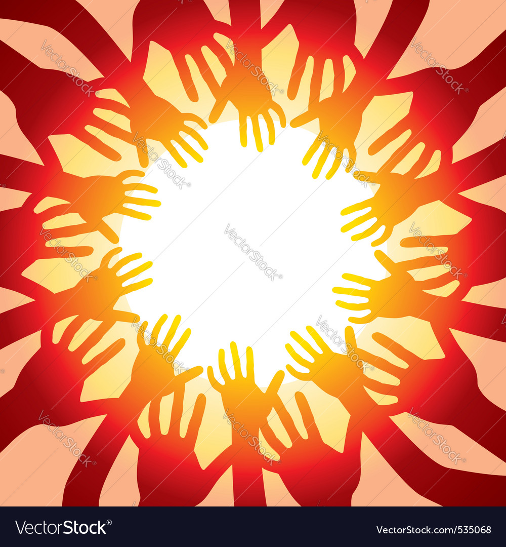 Many hands around hot sun vector | Price: 1 Credit (USD $1)
