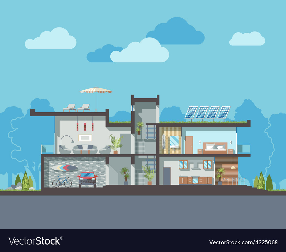 Modern house section vector | Price: 3 Credit (USD $3)