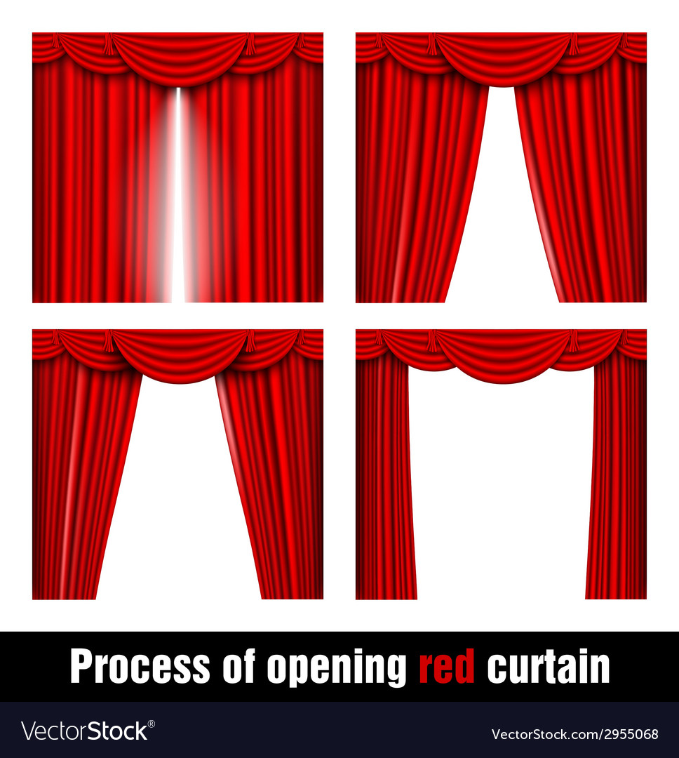 Process of opening red curtain vector | Price: 1 Credit (USD $1)