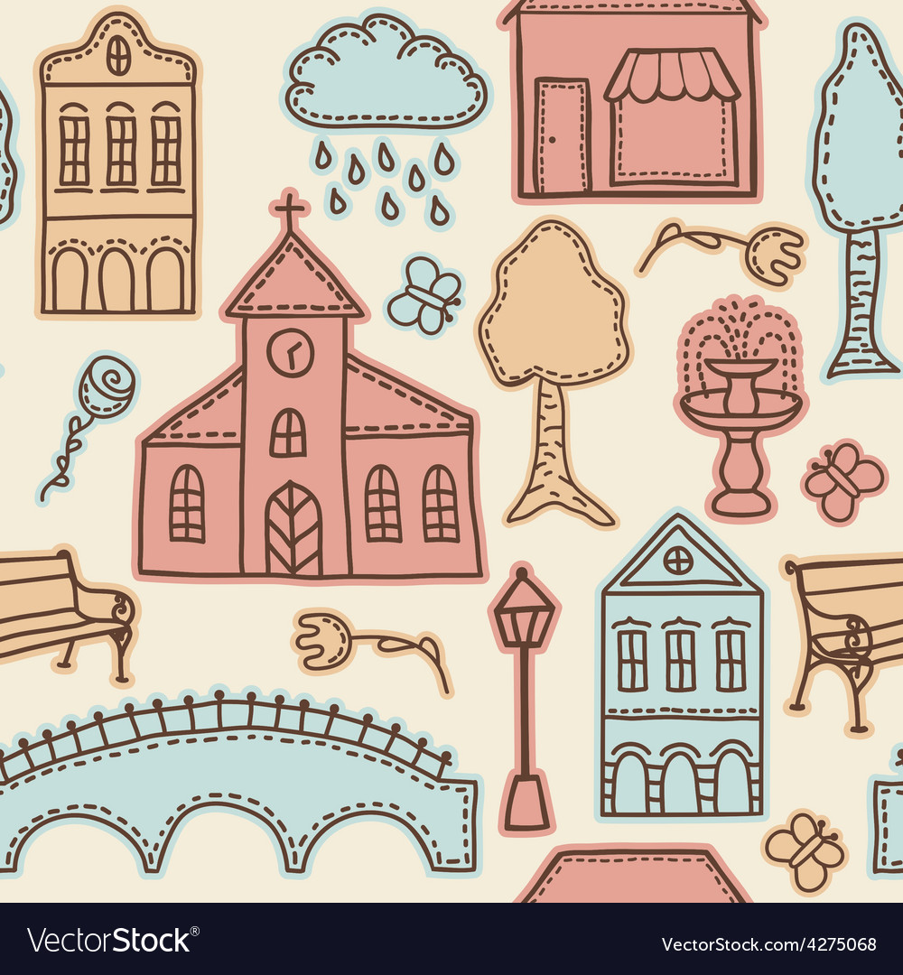Town or city design elements on seamless pattern vector | Price: 1 Credit (USD $1)