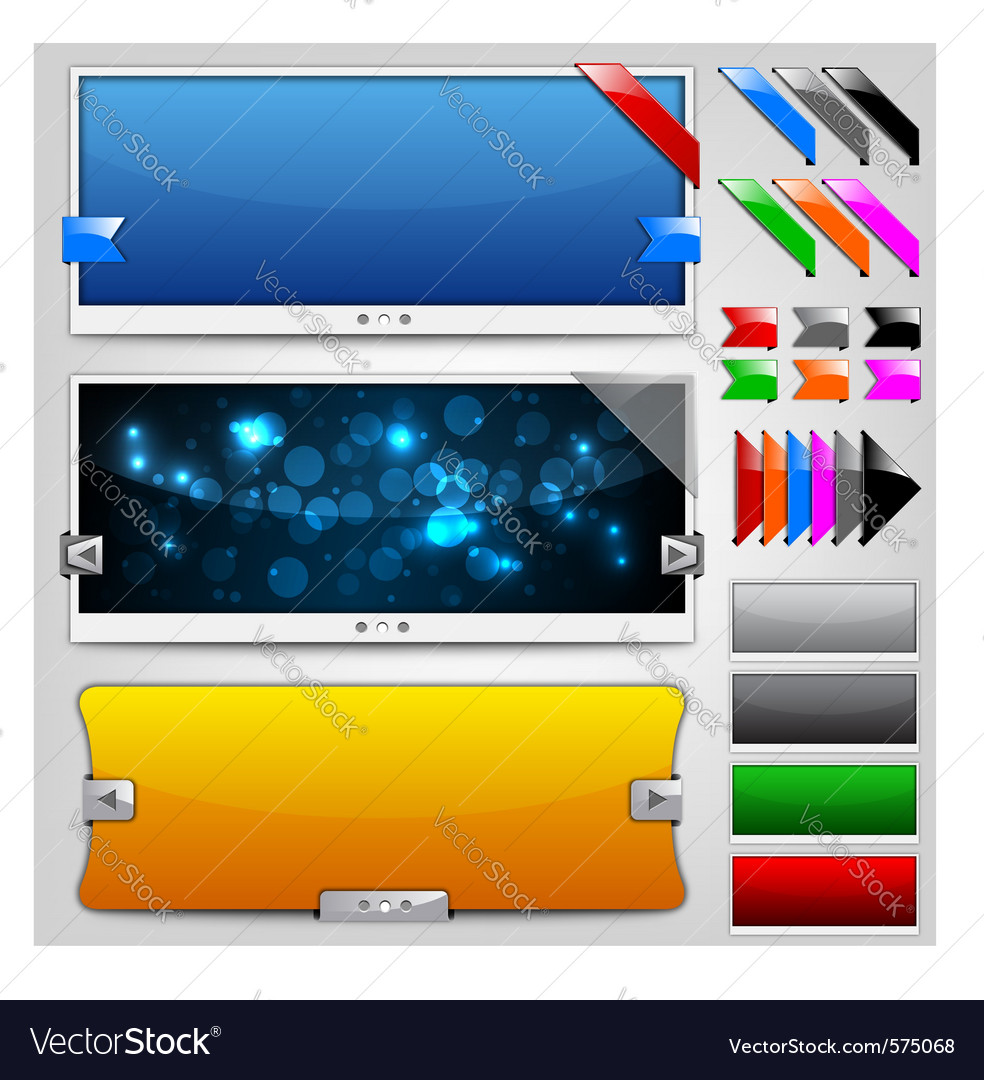 Web sliders and ribbons  backgrounds vector | Price: 1 Credit (USD $1)