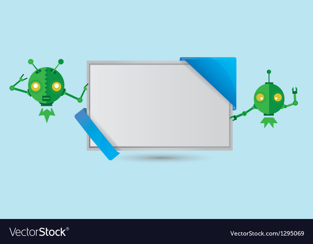 Banner with green robots vector | Price: 1 Credit (USD $1)