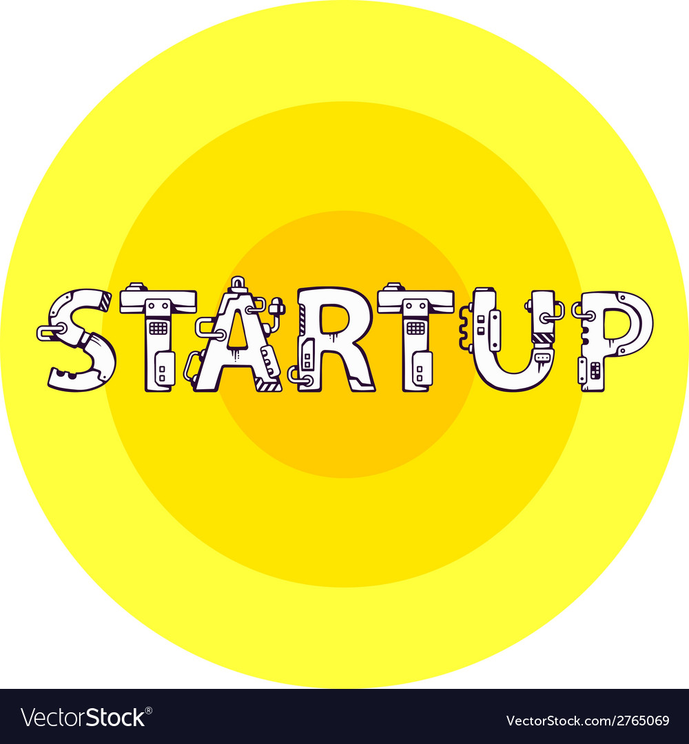Bright of the word startup in techno style o vector | Price: 1 Credit (USD $1)