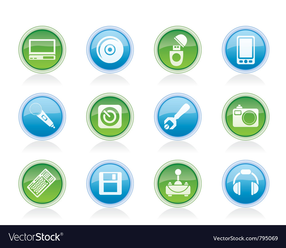Computer and mobile phone equipment icons vector | Price: 1 Credit (USD $1)