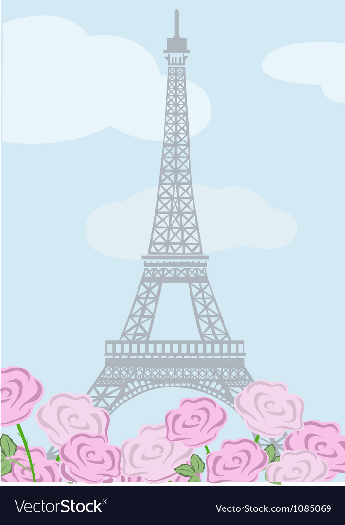 Eiffel tower with roses vector | Price: 1 Credit (USD $1)