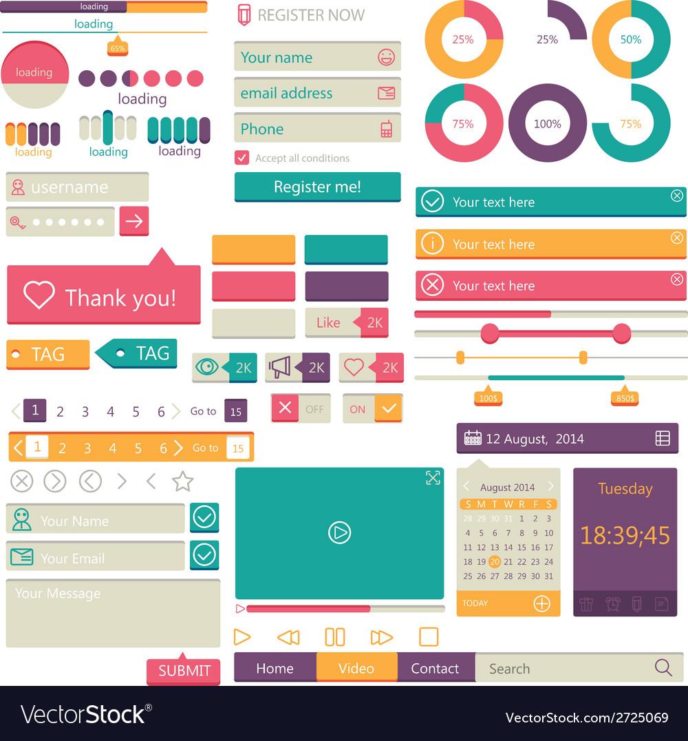 Flat elements design ui set vector | Price: 1 Credit (USD $1)