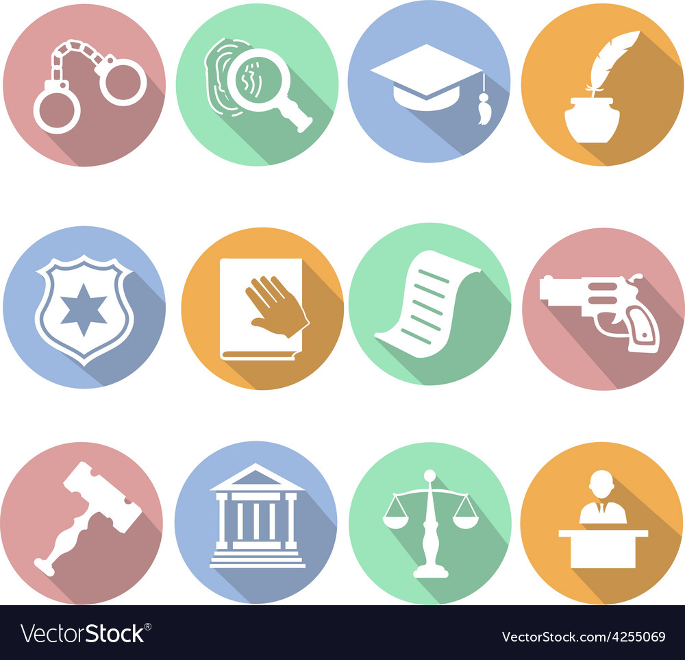 Law and judgment legal justice icon flat set vector | Price: 1 Credit (USD $1)