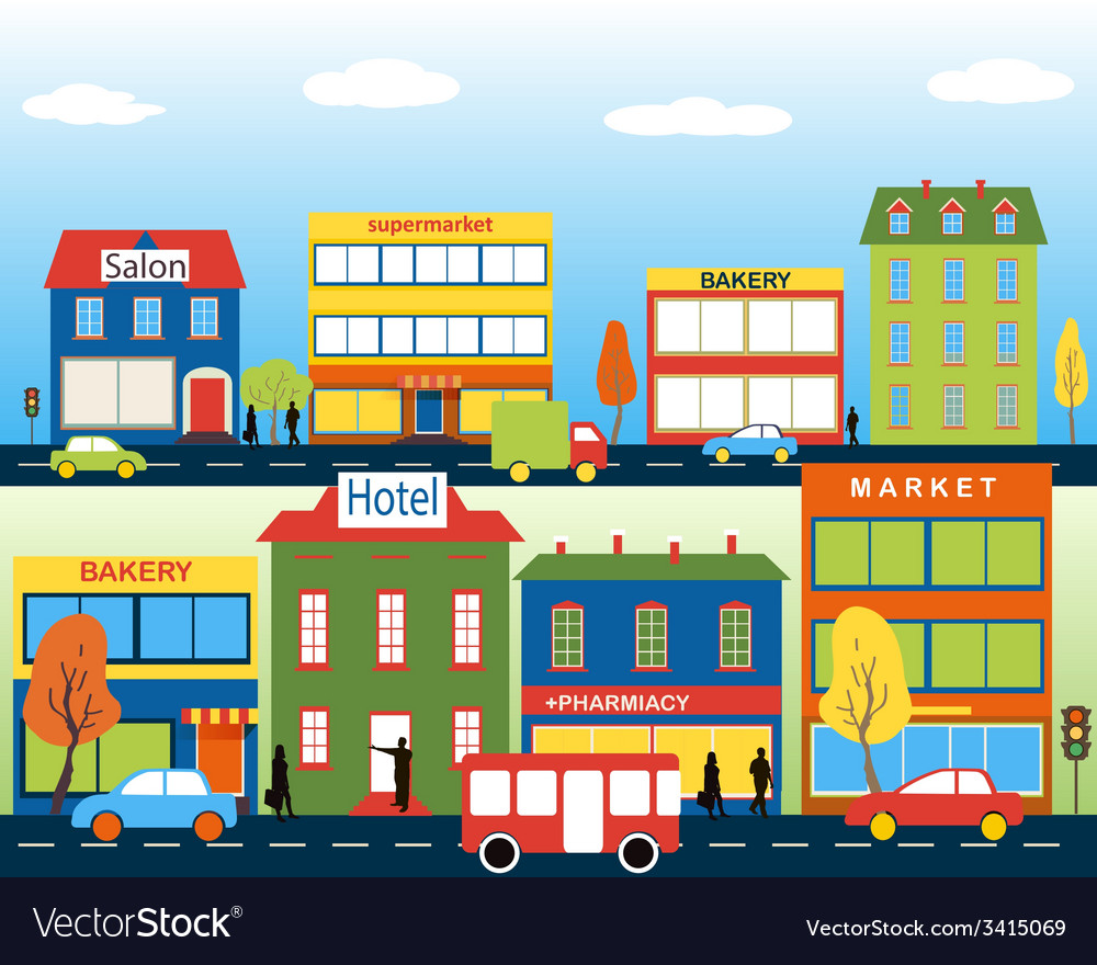 Small town with small and medium business vector | Price: 1 Credit (USD $1)