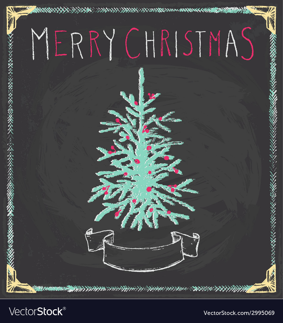 Vintage merry christmas tree chalkboard hand drawn vector | Price: 1 Credit (USD $1)