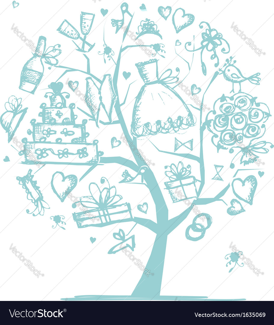 Wedding tree concept for your design vector | Price: 1 Credit (USD $1)