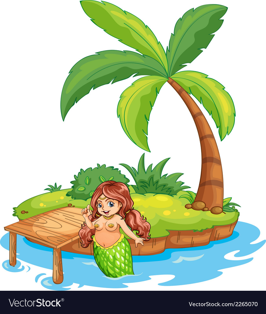 A fat mermaid at the beach vector | Price: 1 Credit (USD $1)