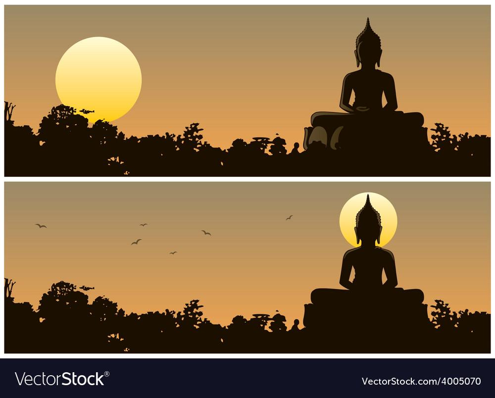 Buddha sunset vector | Price: 1 Credit (USD $1)