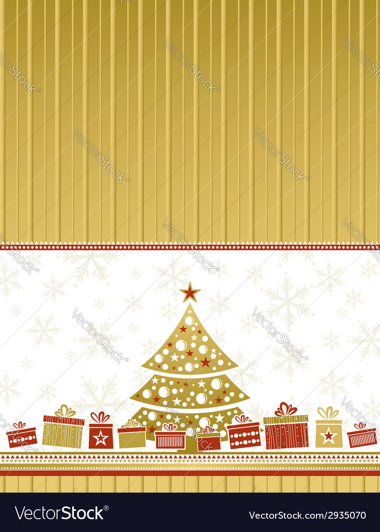 Color christmas card with tree and gifts vector | Price: 1 Credit (USD $1)