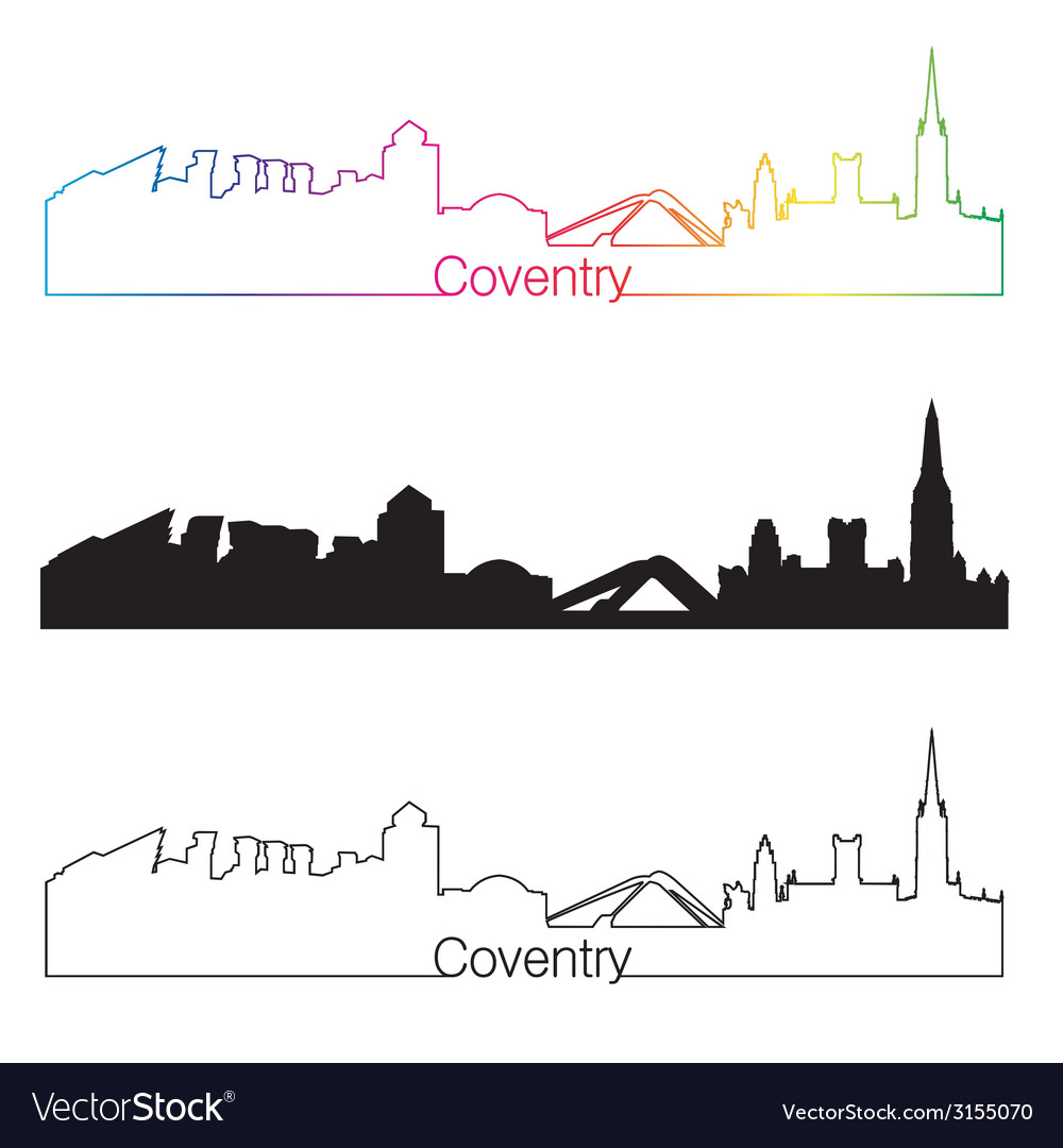 Coventry skyline linear style with rainbow vector | Price: 1 Credit (USD $1)