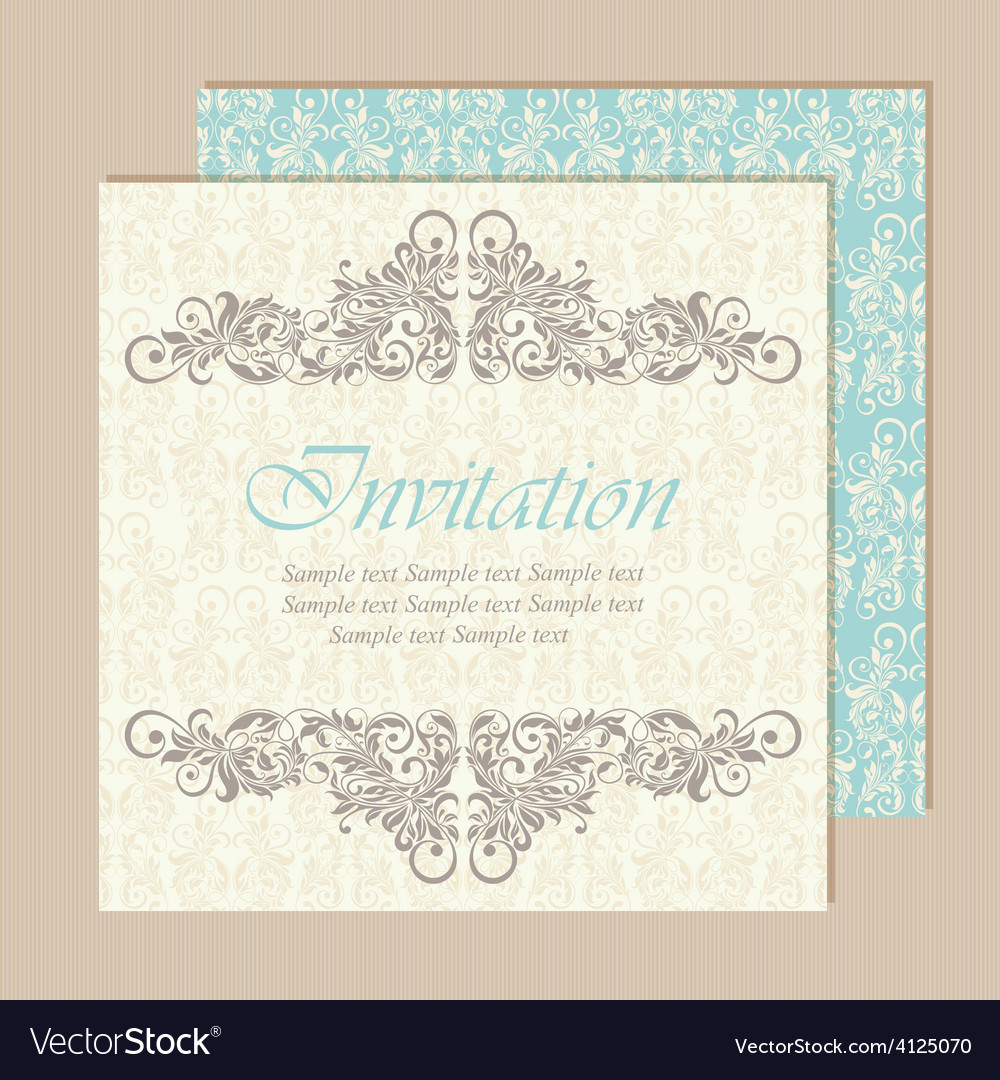 Invitation vintage card vector | Price: 1 Credit (USD $1)
