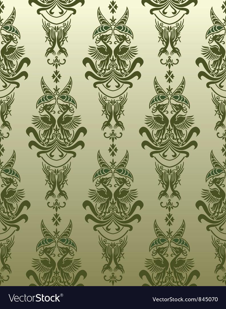 Retro bird wallpaper vector | Price: 1 Credit (USD $1)