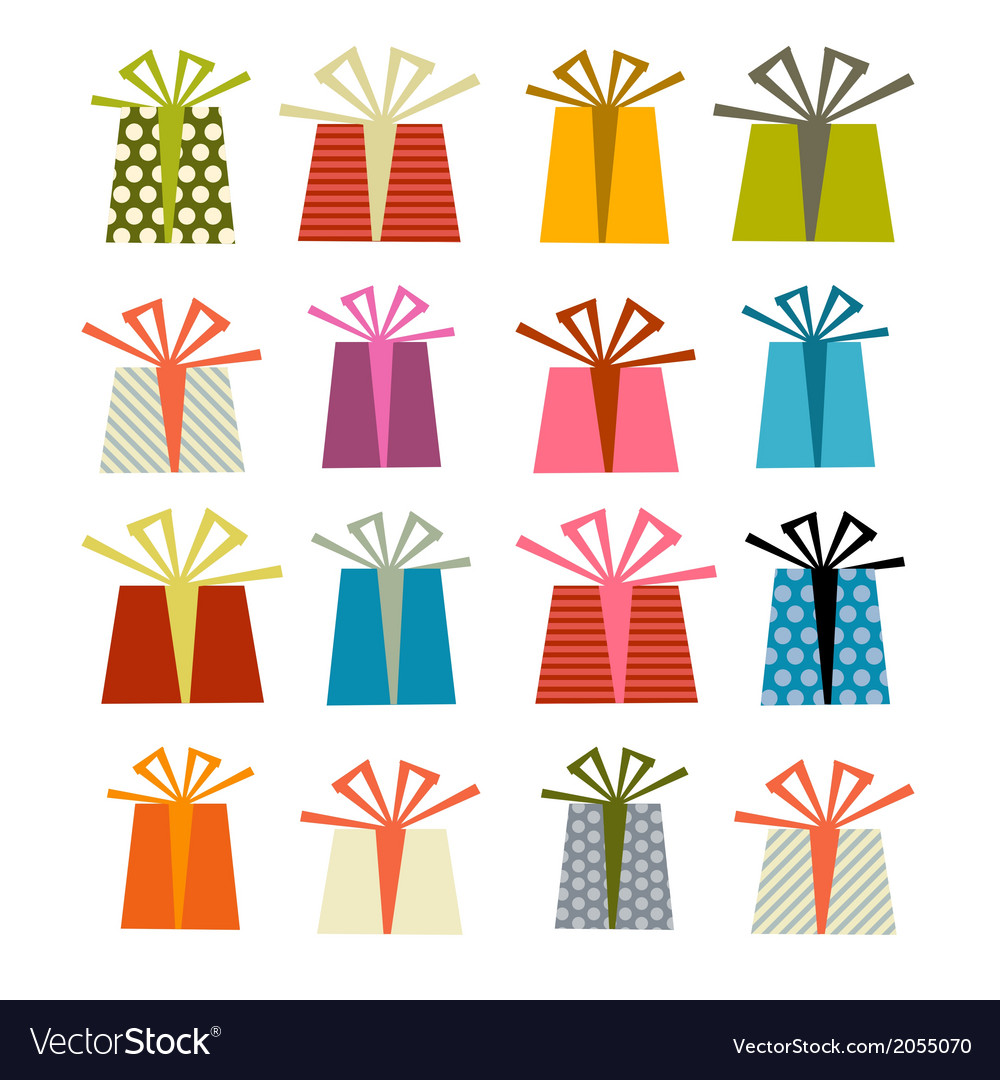 Retro gift boxes set isolated on white backg vector | Price: 1 Credit (USD $1)