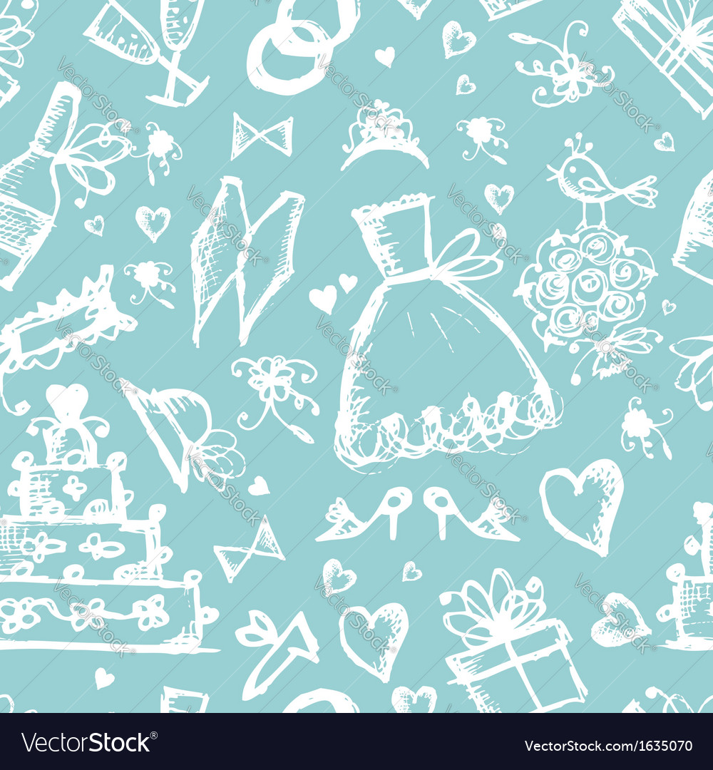 Seamless pattern with wedding design elements vector | Price: 1 Credit (USD $1)