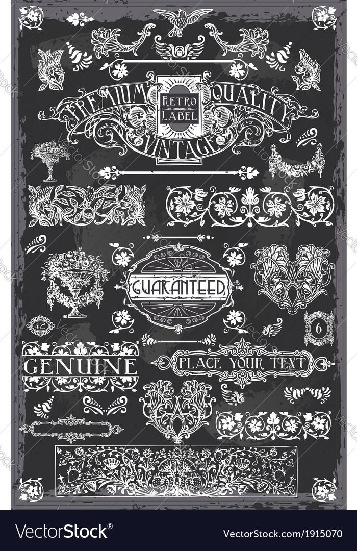 Vintage blackboard hand drawn banners vector | Price: 1 Credit (USD $1)