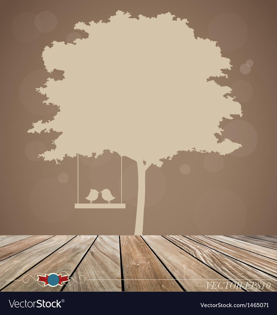 Background with tree bird vector   Price: 1 Credit (USD $1)
