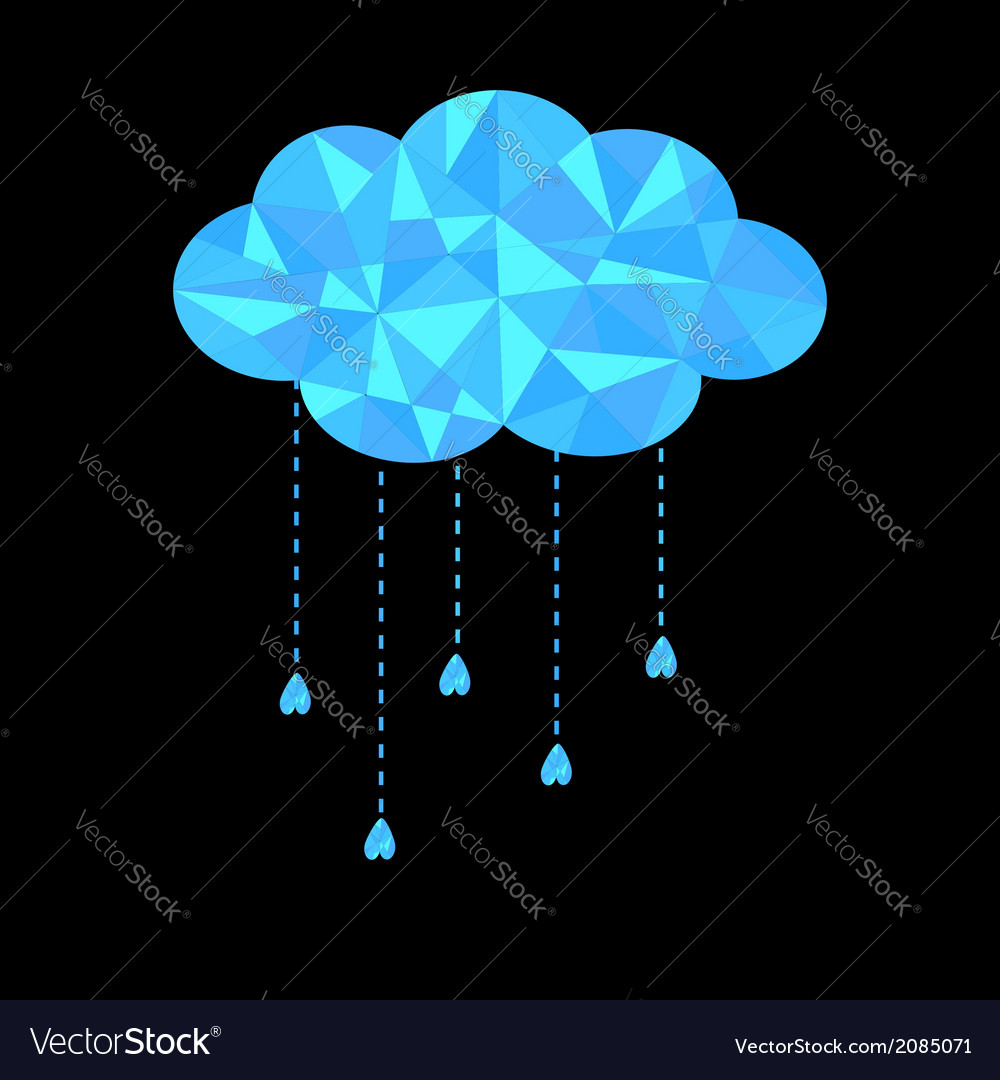 Blue polygonal cloud with hanging drops polygonal vector | Price: 1 Credit (USD $1)