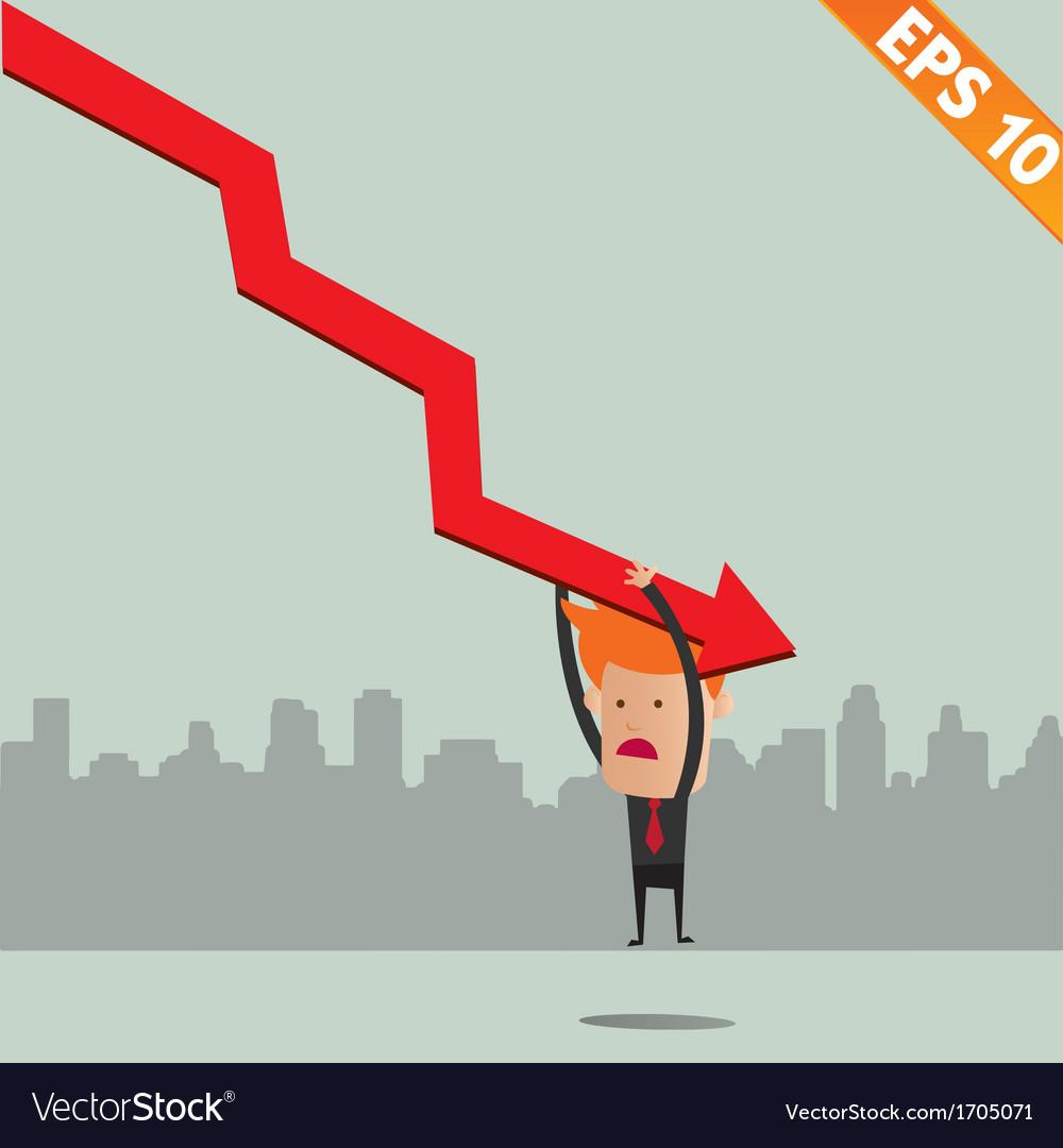 Cartoon businessman hanging on graph - - eps vector | Price: 1 Credit (USD $1)