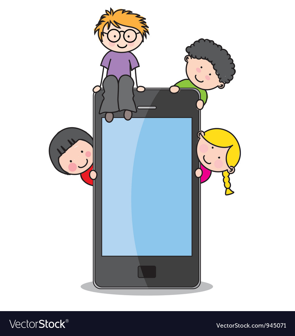 Children with a cell phone vector | Price: 1 Credit (USD $1)