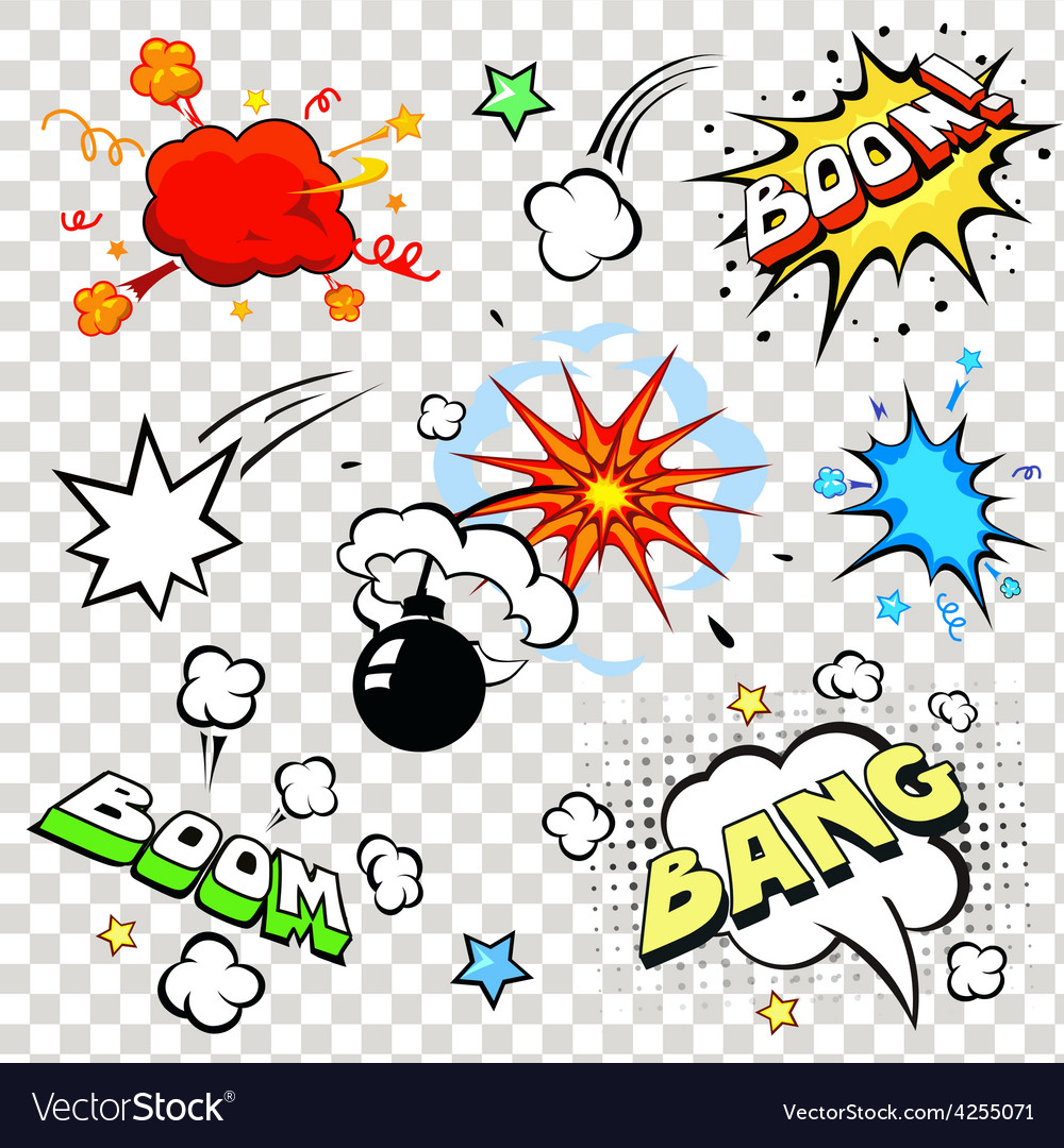 Comic speech bubbles in pop art style with bomb vector | Price: 1 Credit (USD $1)