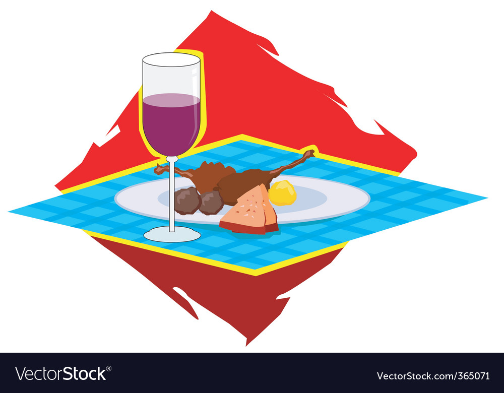 Food and wine vector | Price: 1 Credit (USD $1)