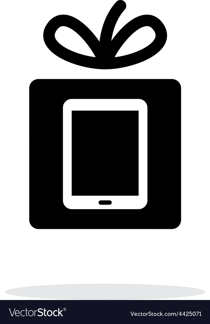 Gift tablet pc icon on white background vector | Price: 1 Credit (USD $1)