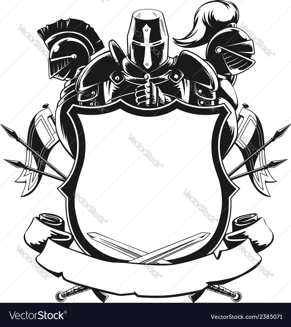 Knight shield silhouette ornament vector