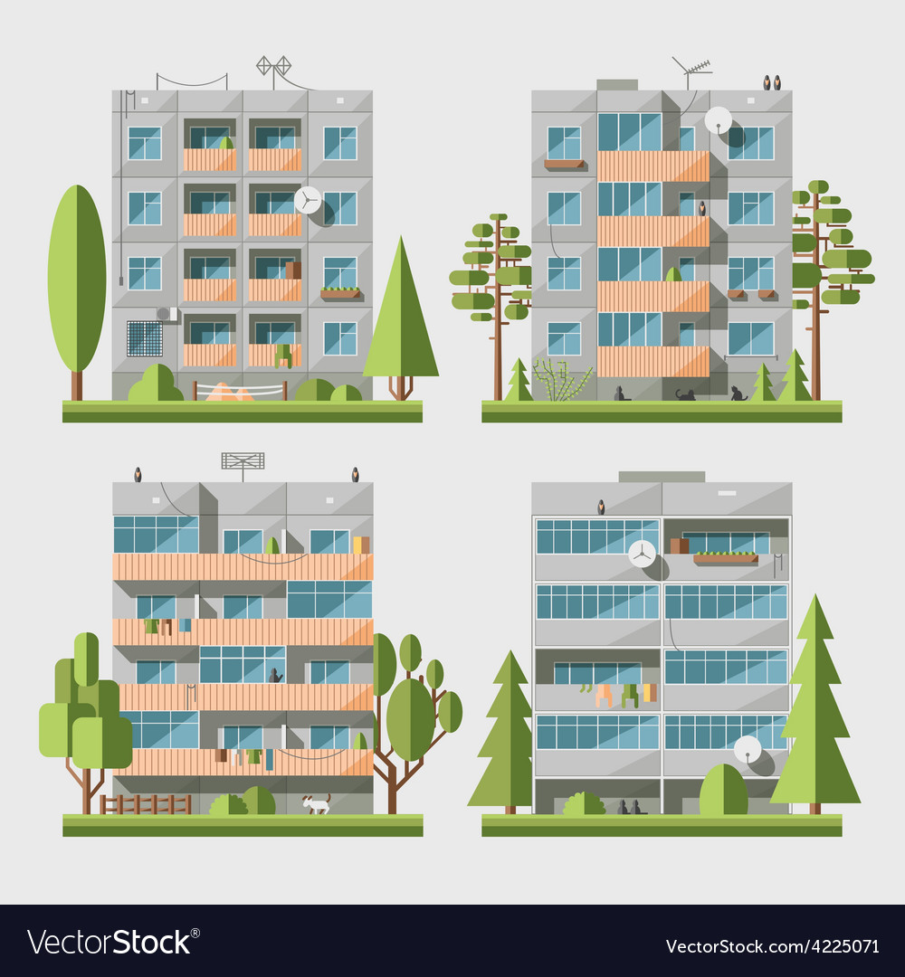 Panel houses flat set2 vector | Price: 3 Credit (USD $3)