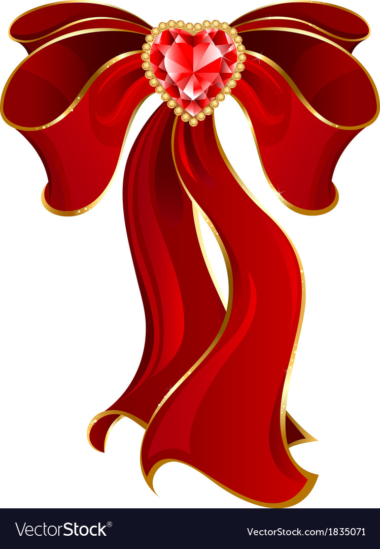 Red bow with ruby with heart vector | Price: 1 Credit (USD $1)